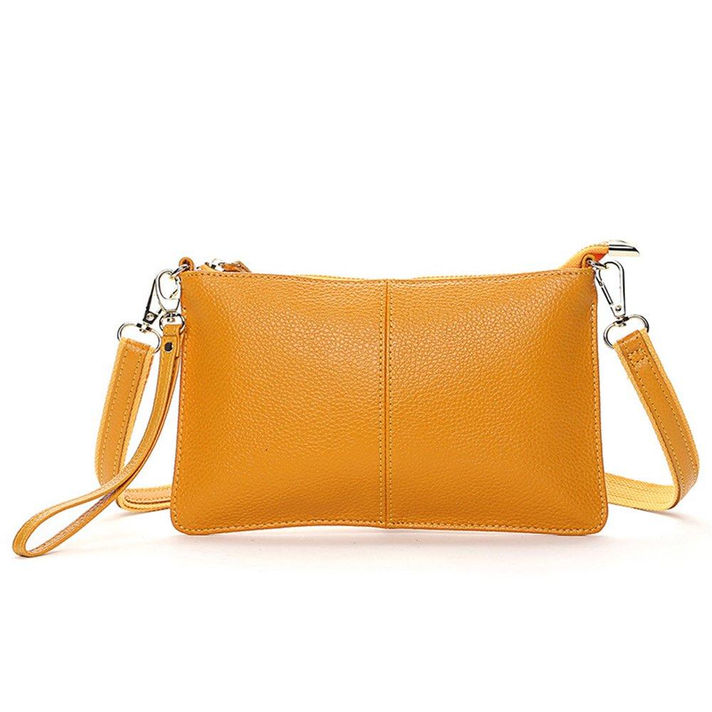 Women Genuine Leather yellow Handbags party Clutches mini Crossbody Shoulder bags fashion Purse totes shopping Wristlet(YELLOW)