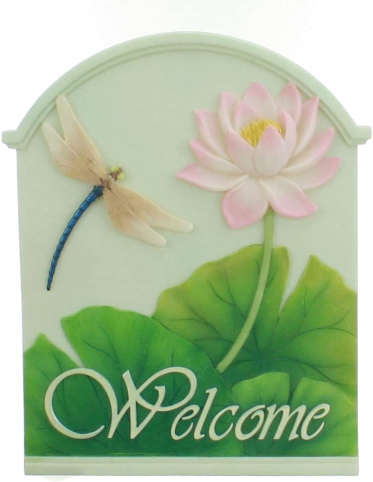 Ibis & Orchid Design Collection Dragonfly & Waterlily Welcome Sign 7