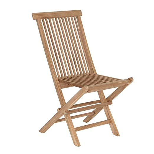 Kenny - Silla plegable madera de teca maciza natural 90 x 47 ...