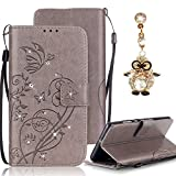 Samsung Galaxy S4 Case, Bonice Luxury Rhinestone Embossing Butterfly Pattern Premium PU Leather Flip Magnetic Snap Book Style Wallet Case [Card Slots] [Hand Strip] Multi-Function Design Cover + Diamond Dust Plug, Grey
