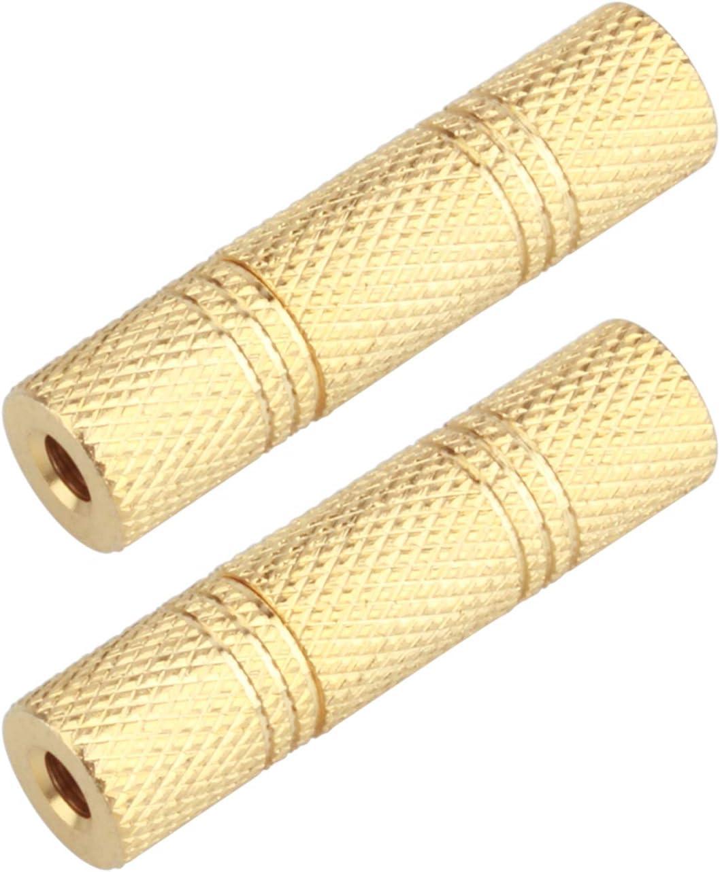 "Mono 3.5mm 1//8/"" Aux Female Jack to Female Jack Audio Coupler Adapter F//F Gold"