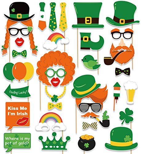St. Patrick's Day Photo Booth Props - Shamrock Irish Party Supplies Decorations(59Ct)]()