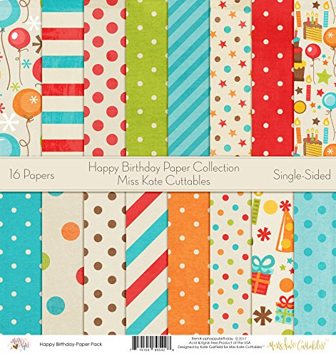 Pattern Paper Pack - Happy Birthday - Scrapbook Card Stock Single-Sided 12