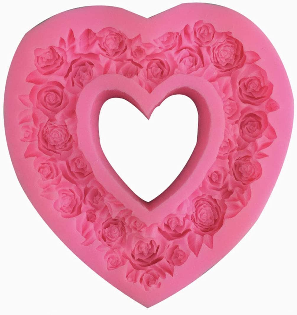 3D Silicone Rose Heart Shape Fondant Cake Mold DIY SELL Craft A5M0 Mould So D0D5