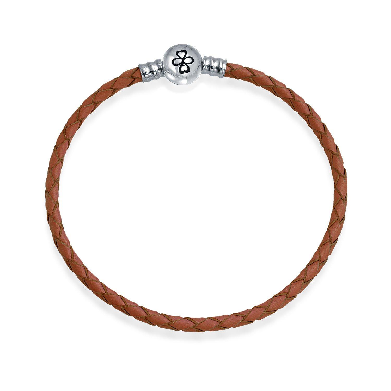 AYLLU .925 Silver Round Barrel Clasp Brown Leather Charm Bead Bracelet