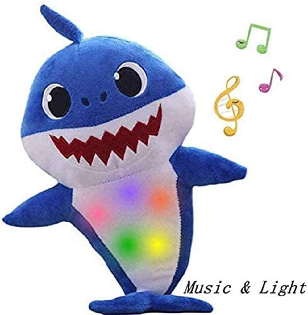 JIAOJIAO Children's Soft Toy Shark Baby,Singing and Lightening Baby Shark Plush Doll,is The Best Gift for Boys and Girls(Blue)