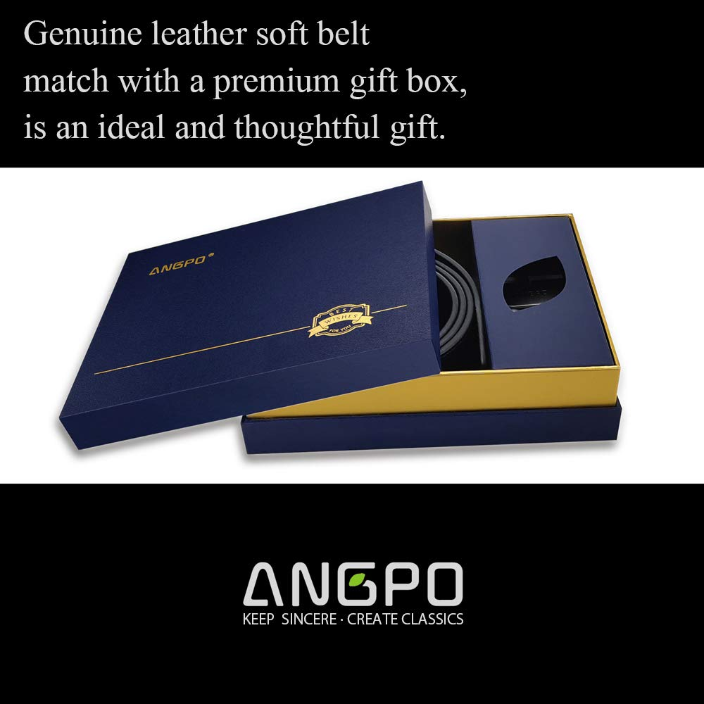 Brown and Black Soft Belts,Removable Buckle for Cut Gift box,1.25 ANGPO Genuine Leather Reversible Belts for Men
