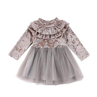 Wang-RX Fancy Princess Kids Baby Girl Dress Velvet Fleece ...