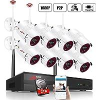 【2019 Nuevo】 ANRAN 1080P Kit de Cámaras Seguridad WiFi Vigilancia Inalámbrica Sistema de Cámara CCTV Inalámbrica Kit NVR 8CH con 8 IP Cámaras Exterior de Visión Nocturna, Acceso Remoto, P2P, 2TB HDD