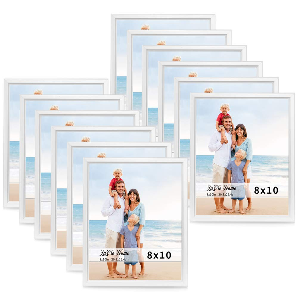 LaVie Home 8x10 Picture Frames (12 Pack, White) Simple Designed Photo Frame with High Definition Glass for Wall Mount & Table Top Display, Set of 12 Classic Collection