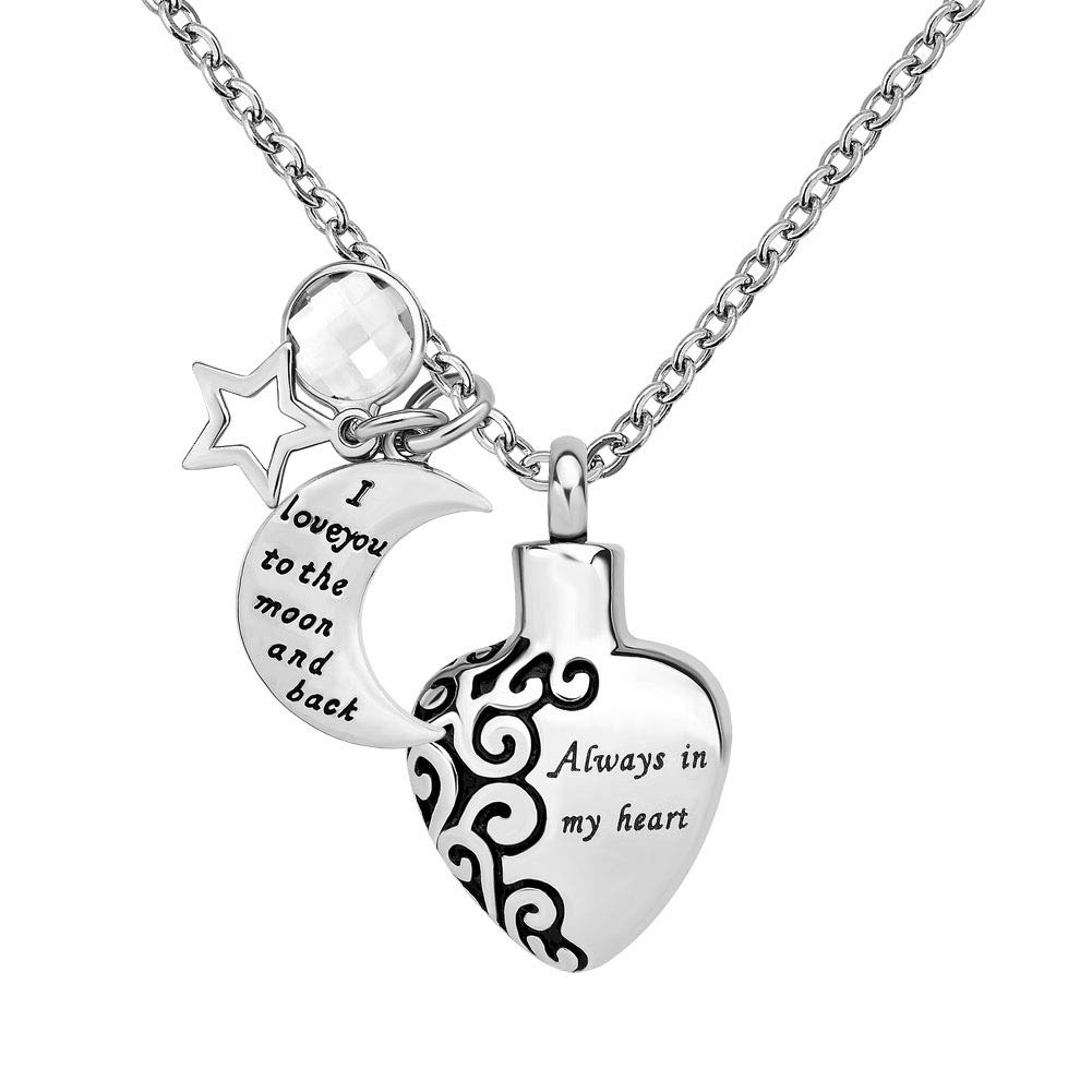 JewelryJo ''I Love You to The Moon and Back Always in My Heart Star Birthstone Urn Necklace Ashes Pendant APR.