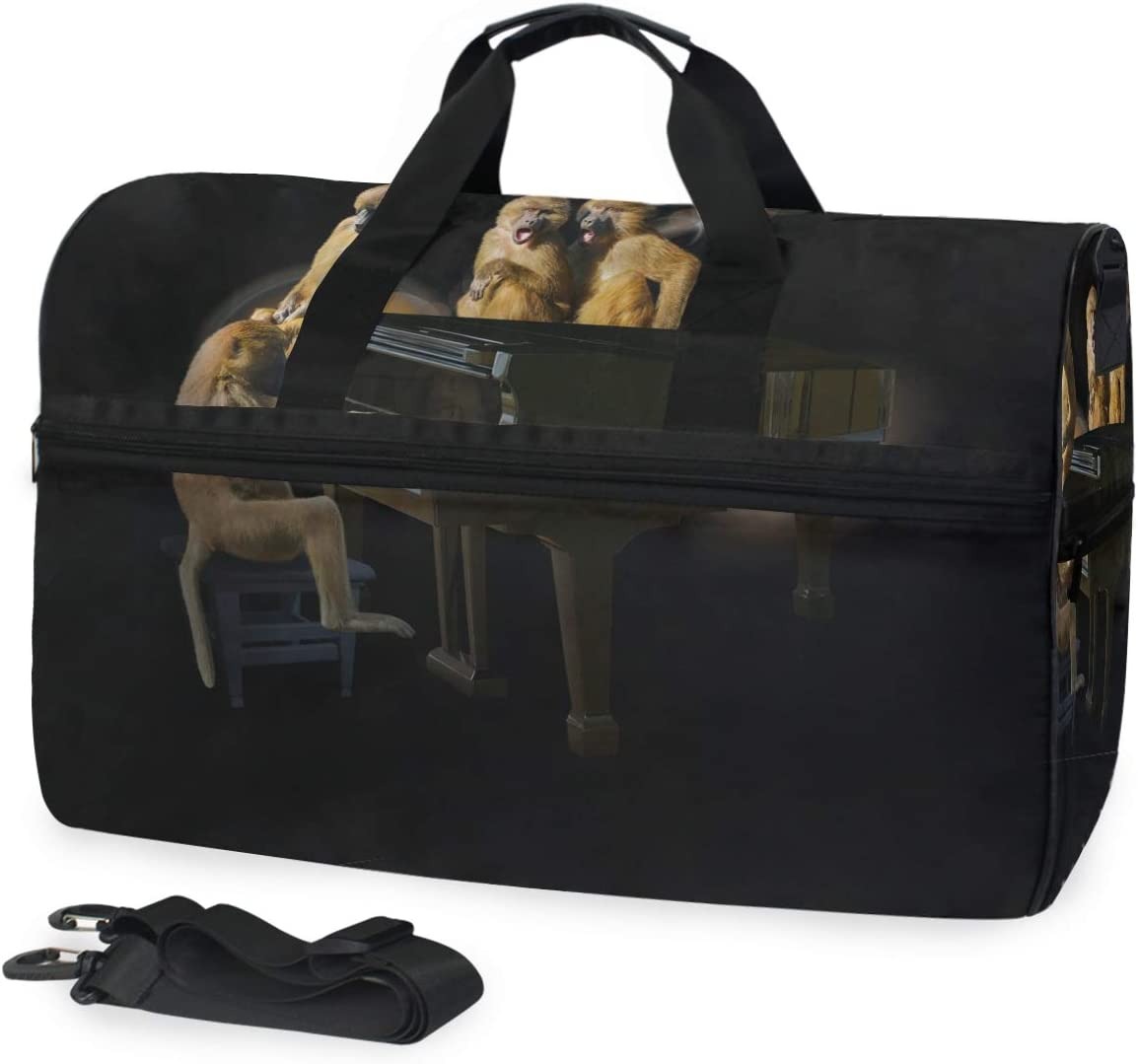 MUOOUM Monkey Piano Singer Large Duffle Bags Sports Gym Bag with Shoes Compartment for Men and Women