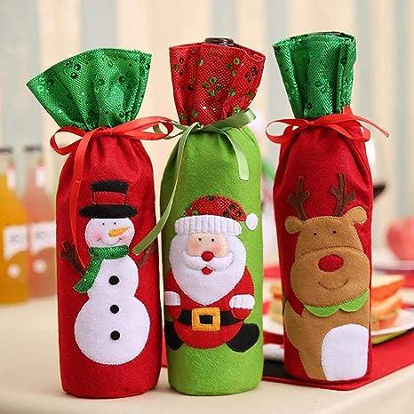 Makibes Decoración de Navidad Navidad Vino Botella Cubierta Bolsillos Navidad Papá Noel Muñeco de Nieve Elk