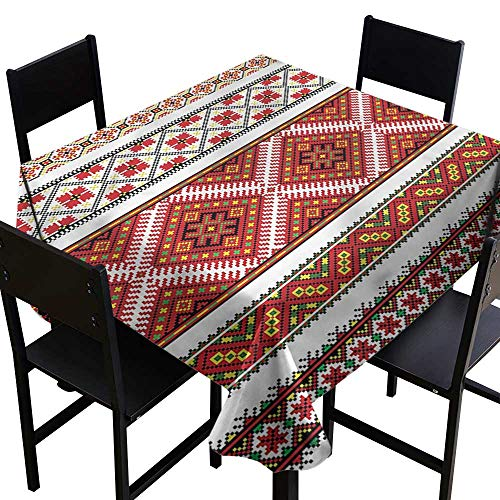 SKDSArts Christmas Tablecloth Ukrainian,Geometric Ornate Artwork,W60 x L60 for Cards (Vector Icons Christmas)
