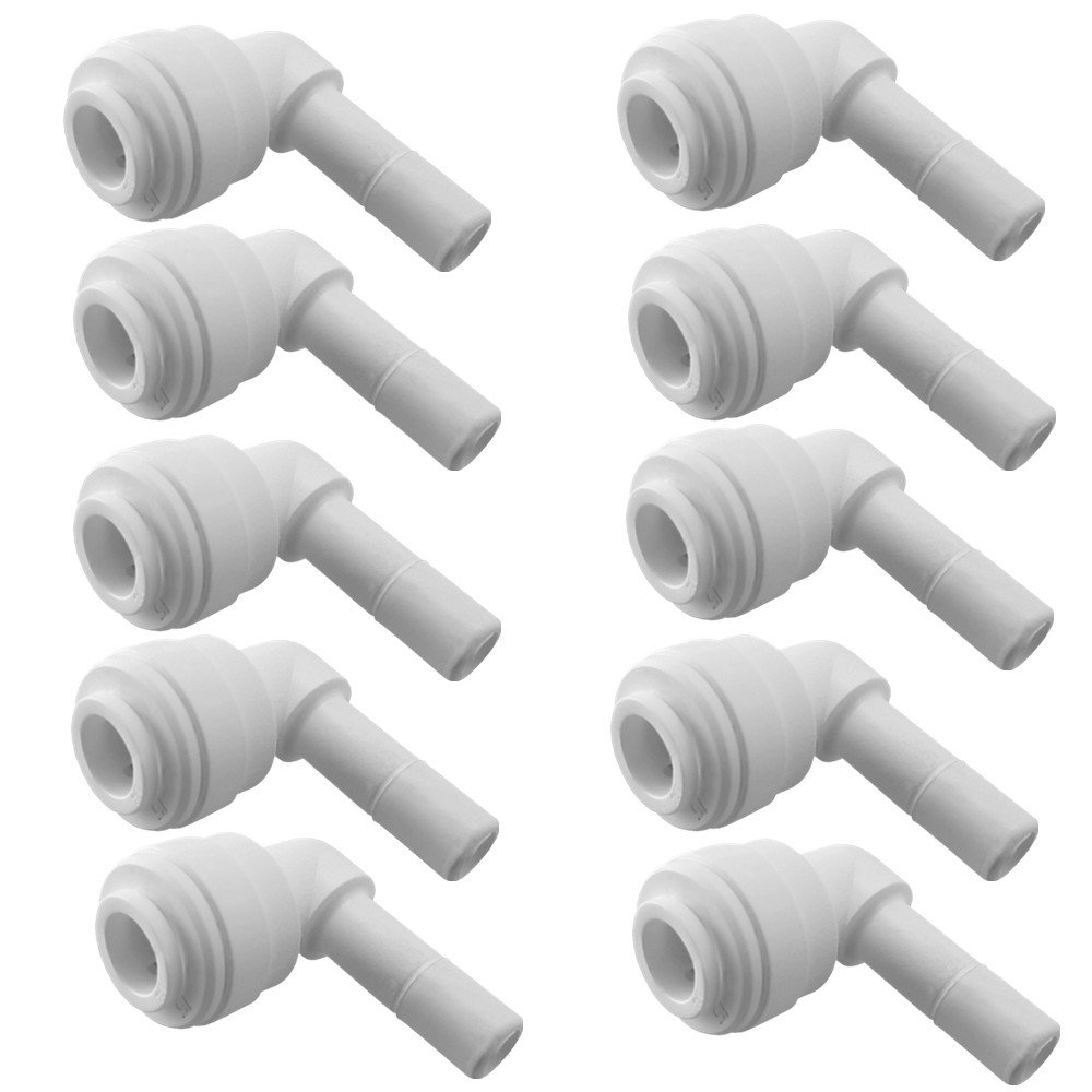 """PureSec 2018 SE14TU14STEM Mini white plastic quick fitting 90 degree elbow Stem plug in push connector for tubing OD 1/4"""" used for RO system refrigerator ice maker coffee machine(Pack of 10)"""