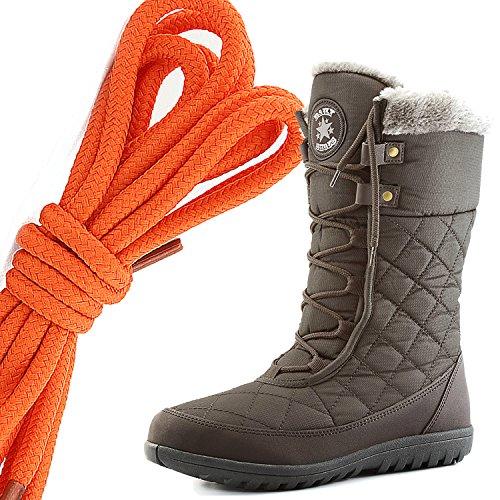 Dailyshoes Comfort Donna Punta Rotonda Stivaletto Alla Caviglia Medio Alto Alla Caviglia Eschimese Invernale, Arancione Marrone