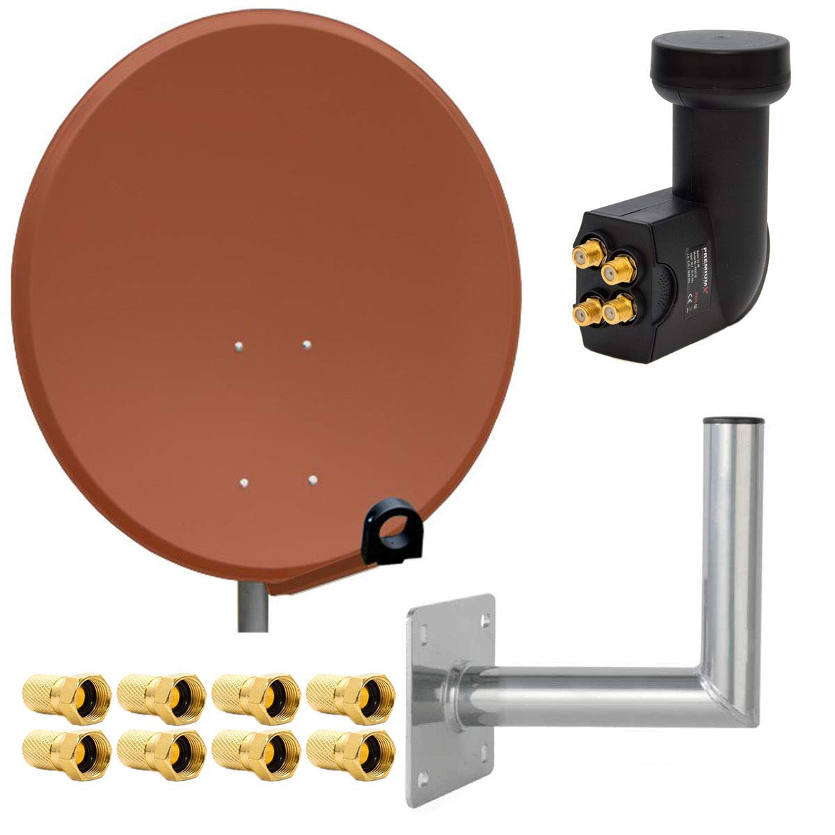 Wandhalter 25cm ALU T/ÜV-Gepr/üft 8 F-Stecker 7mm PremiumX Digital SAT Anlage 80 cm Stahl Sch/üssel Spiegel Antenne Anthrazit Quad LNB PXQS-SE 0,1dB f/ür 4 Teilnehmer