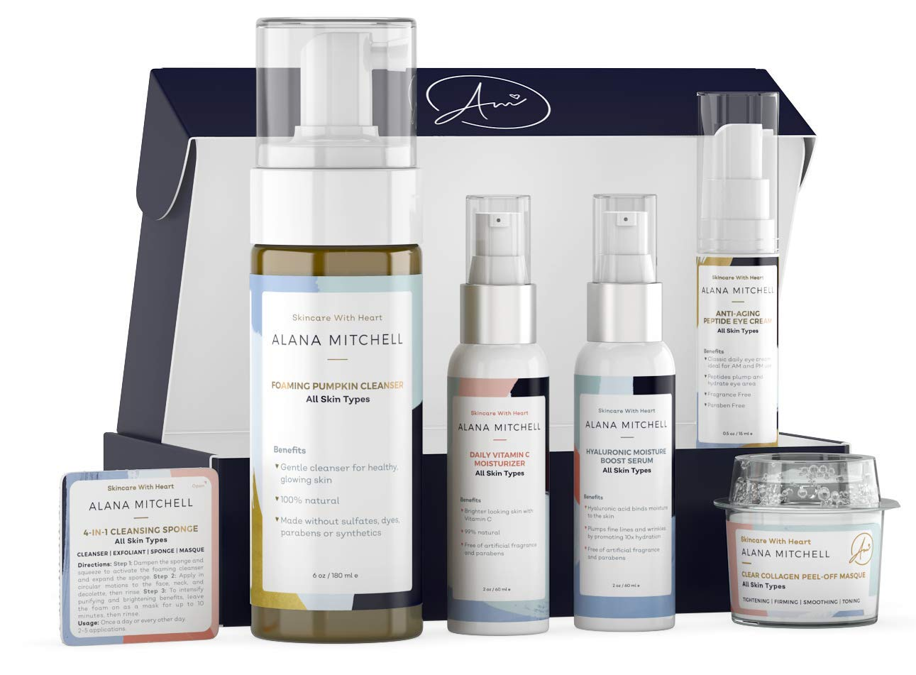 Anti Aging All Skin Types 7 piece Set with Eye Cream, Face Cleanser, Vitamin C Moisturizer, Hyaluronic Serum, Collagen Peel Off Mask & Travel Cleanser By Alana Mitchell Exfoliate, Cleanse, Moisturize