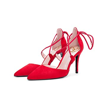 Sommer Frühling Heels High Und Kreuzband Schuhe Spitzte Mode pUzSMV