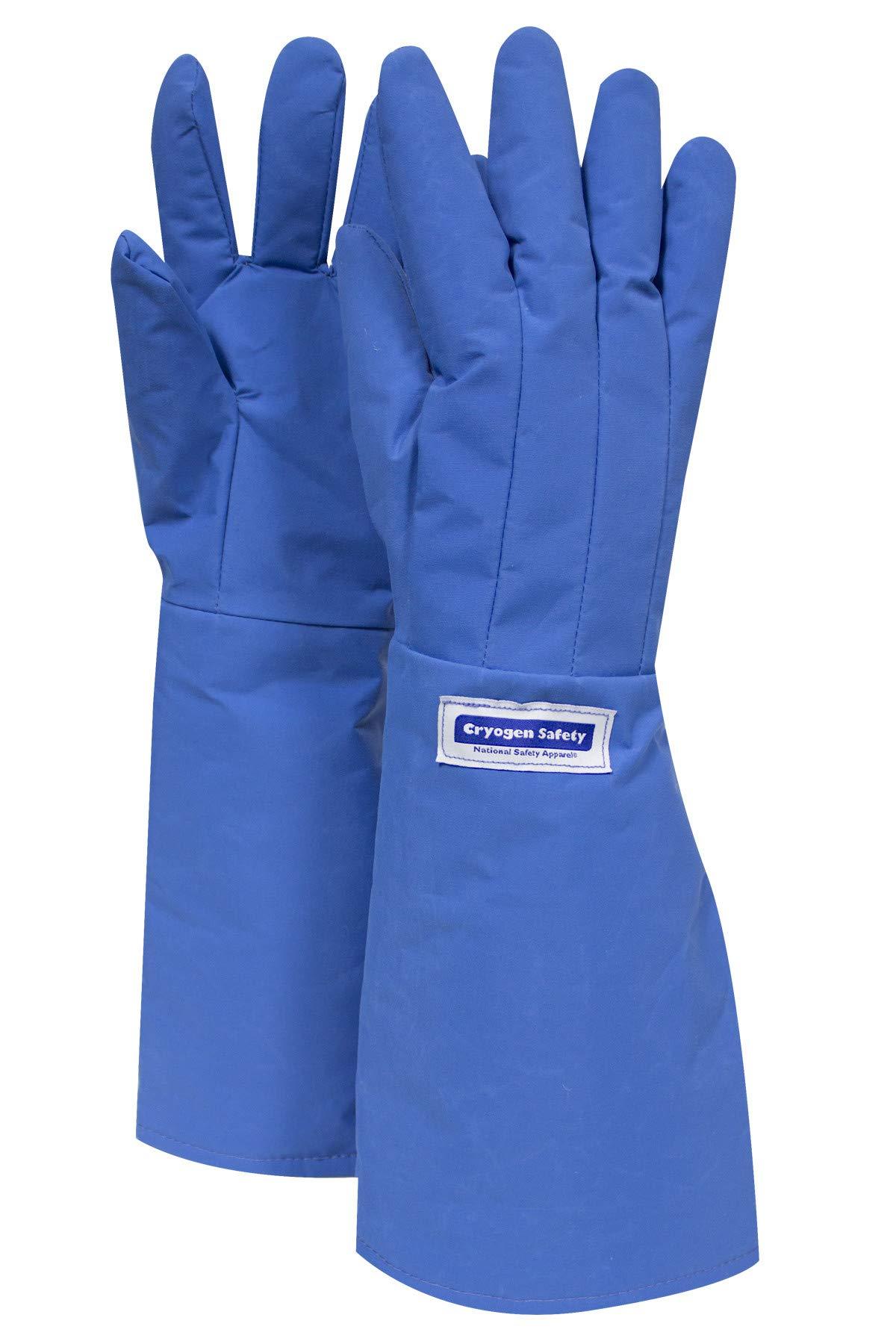 National Safety Apparel G99CRBERMDEL Nylon Taslan and PTFE Elbow Standard Water Resistant Safety Glove, Cryogenic, 17'' - 18'' Length, Medium, Blue