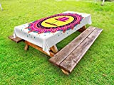 Ambesonne Lotus Flower Outdoor Tablecloth, Circular Mandala Inspired Motif with a Pink Blossom Spiritual Meditation Boho, Decorative Washable Picnic Table Cloth, 58 X 120 inches, Multicolor