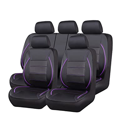 CAR PASS Universal FIT Piping Leather Car Seat Cover, for suvs,Van,Trucks,Airbag Compatible,Inside Zipper Design and Reserved Opening Holes (11PCS, Black and Purple): Automotive