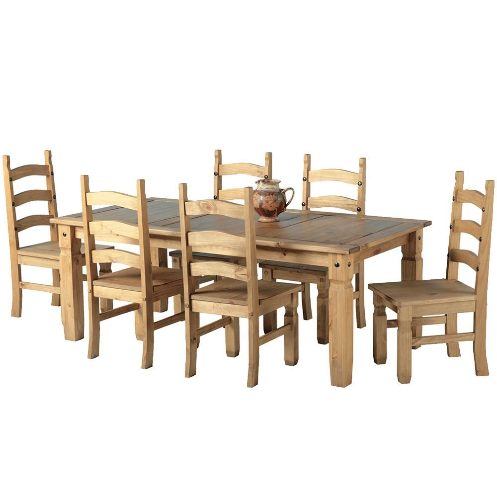 Mexican Corona 6ft Pine 70 Dining Table Set / 6 Chairs Antique Waxed By  Mexican Corona: Amazon.co.uk: Kitchen U0026 Home