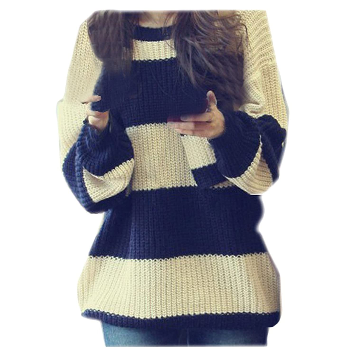 CA Fashion Women's Classical Stripe Knitting Pullover Sweater S to ...