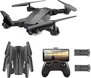 SGOTA RC Drone with Dual 720P HD 2mp Cameras Foldable FPV WiFi RC Quadcopter 2.4Ghz Remote Control Drone with Follow Me Mode (Dual Batteries)