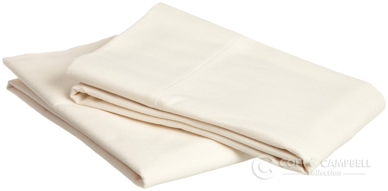 Coit & Campbell Premium Hotel Collection 100% Cotton Sateen Pillow Case (2pcs) (Ivory, 400 TC - Standard)
