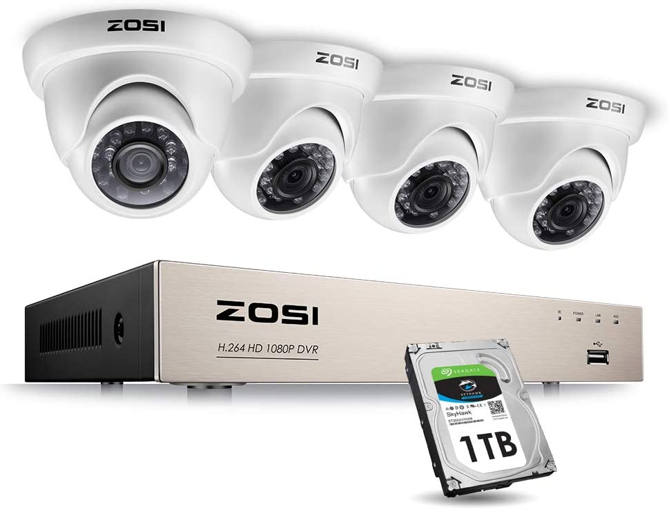 ZOSI 1080P Security Cameras System 8 Channel FULL TRUE 1080P HD-TVI DVR Recorder and 4pcs 1080P HD 1920TVL Indoor Outdoor Surveillance Dome Cameras with Night Vision 1TB Hard Drive Included