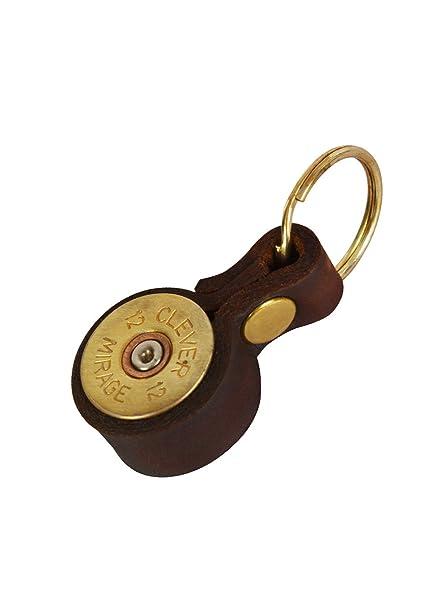 Llavero, diseño de cartucho de escopeta, marrón