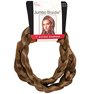 Mia Jumbo Braidie, Braided Synthetic Hair Headband, Hair Accessory on Elastic Rubber Band, Light Brown, for Women, Teens, Office, Dress Up