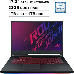 2020 ASUS ROG 17.3 Inch FHD 1080P Gaming Laptop (Intel 6-Core i7-9750H up to 4.5GHz, GTX 1660 Ti 6GB, 32GB DDR4 RAM, 1TB SSD (Boot) + 1TB HDD, Backlit KB, WiFi, Bluetooth, HDMI, Windows 10)