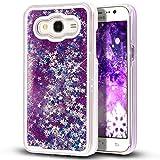 Galaxy Grand Prime Case,Little Sky ( TM ) Galaxy Grand Prime [Liquid] [Glitter] Case,Creative Design Flowing Liquid Floating Luxury Bling Glitter Sparkle Stars Clear Hard Case for Galaxy Grand Prime G530F,Purple