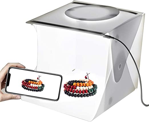 Jinxuny estudio de fotografía caja de luz plegable portátil para fotografía de fondo fotográfico juego de carpa de tiro de mesa con doble tira de luces led 6 fondos: Amazon.es: Hogar