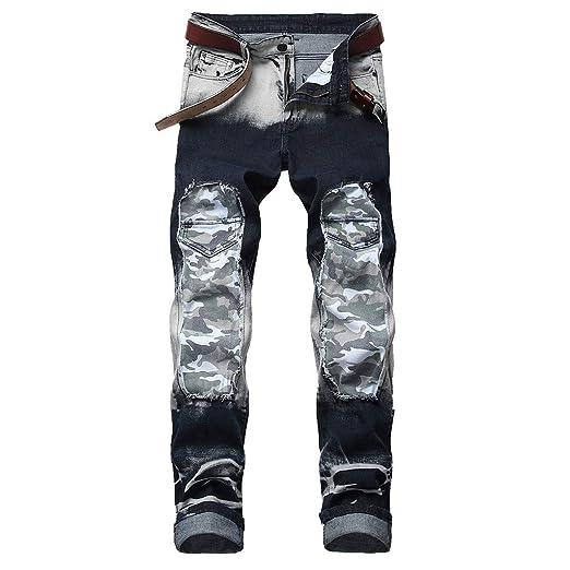 0e6ed8e807c306 NUWFOR Men's Stretchy Ripped Skinny Biker Jeans Destroyed Taped Slim Fit  Denim Pants(Gray,