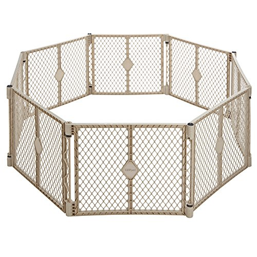 North States Superyard Indoor Outdoor 8 panel Playard-Sand (Play Plastic Yard Infant)