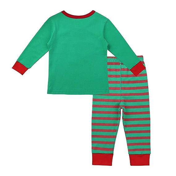iiniim Pijama Dos Piezas Manga Larga para Niño Niña Navidad Duende Elfo Conjuntos Infantil Invierno Tops y Pantalones Ropa de Dormir Algodón Set para Niños ...