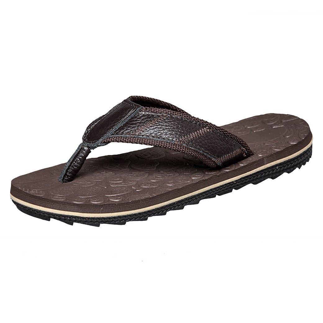 JIONS Men's Casual Flip Flops Slippers, Comfortable Lightweight Leather Sandals, Unisex Beach Sandals Shoes Dark Brown 46