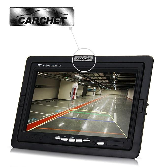 CARCHET Pantalla Monitor TFT LCD 7 Pulgadas + Sistema de Cámara Retrovisor Visión Trasera Cámara Visión Nocturna + Control Remoto para Coche