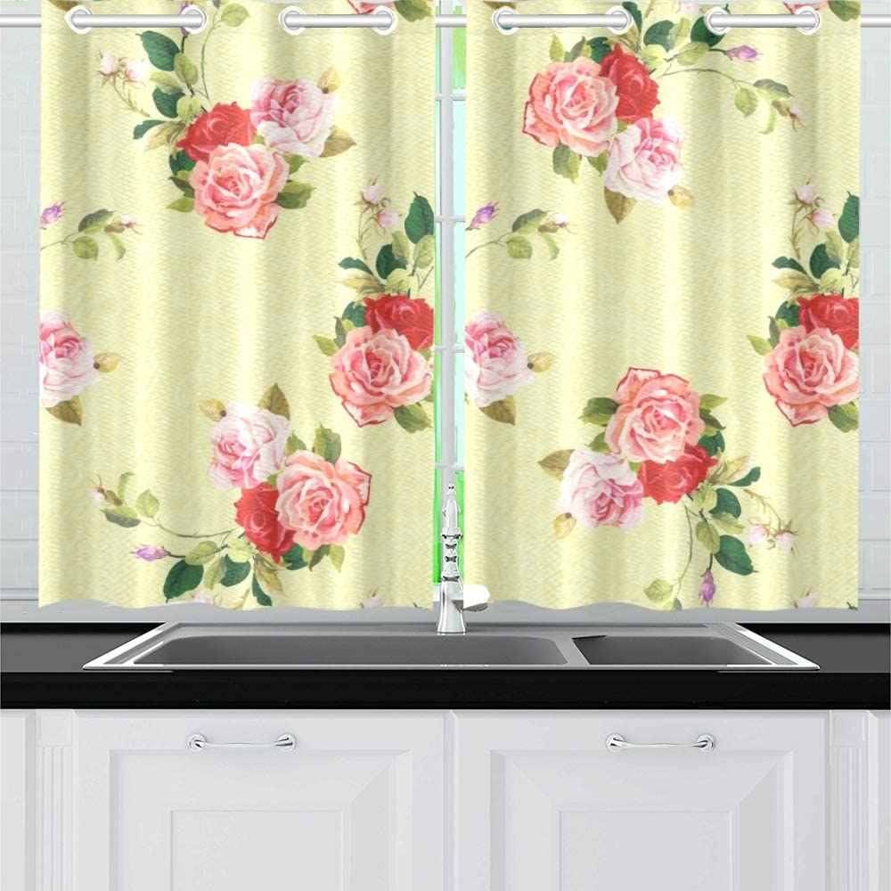 Jincaii Floral Three Rose Kitchen Curtains Window Curtain Tiers For Café Bath Laundry Living Room Bedroom 26 X 39 Inch 2 Pieces Amazon Co Uk Kitchen Home