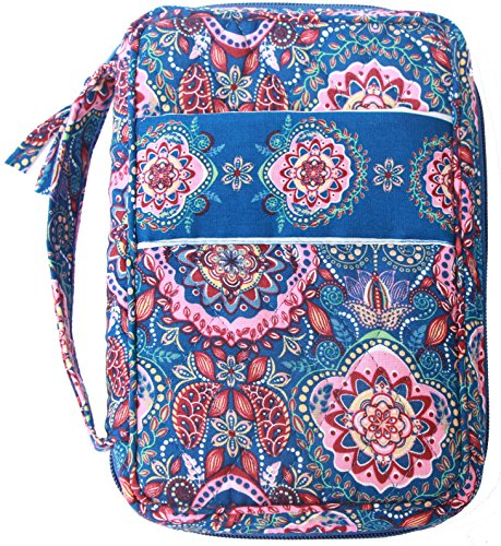 DIWI Bible Cover Large Sizes 10 X 7 X 2.75 Inches Quilted 100% Cotton Good Book Cover Fit for Large Print NLT Life Application Study Bible Zip Closer Slip Pocket (1712G Blue Tapestry, Large)