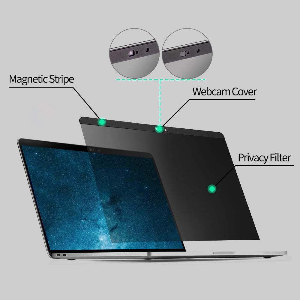 Tuxlke MacBook Pro 15 Inch Screen Protector MacBook Pro 15.4 Inch Screen Privacy Landscape,Webcame Cover Magnetic Installation Including Mousepad and Ultra Thin Keyboard Protector and Storage Folder by Tuxlke (Image #2)