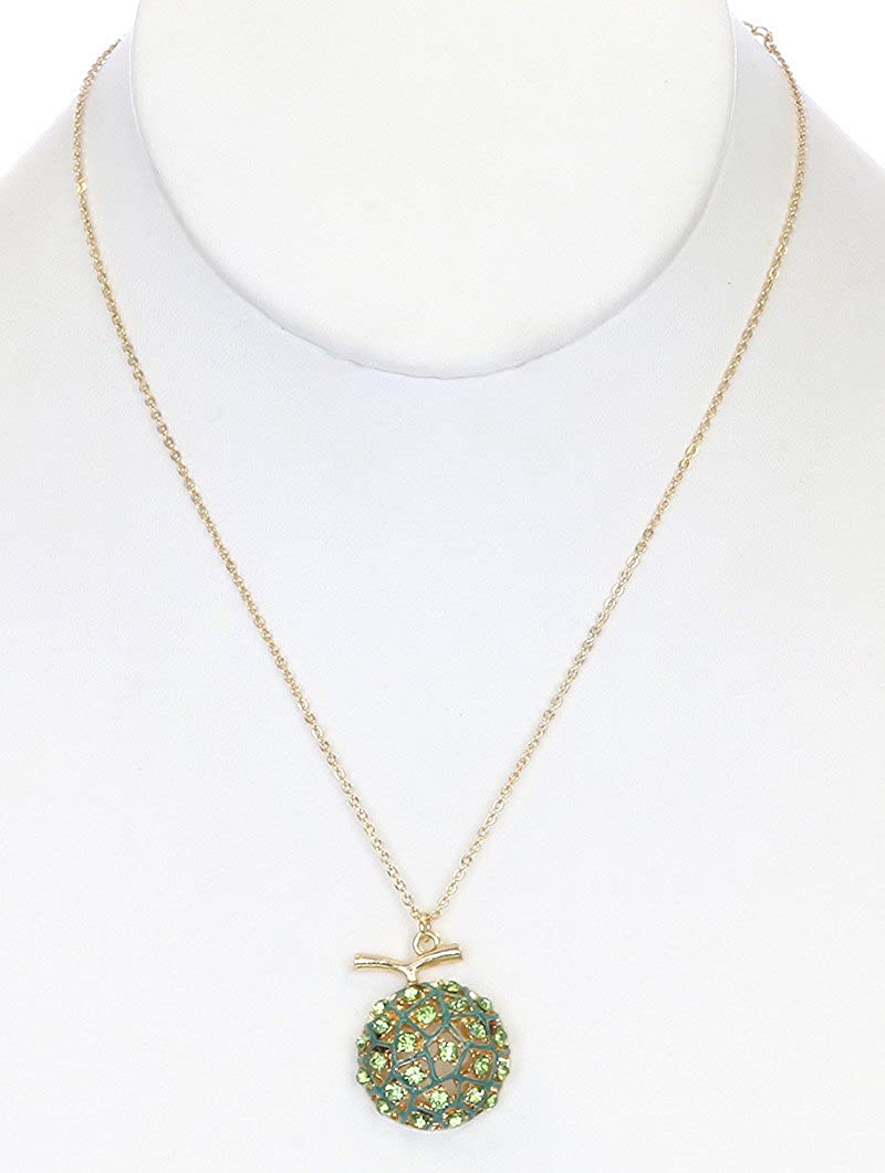FB Jewels Solid Fruit Charms Link Metal Crystal Stone Paved Lime Epoxy Necklace