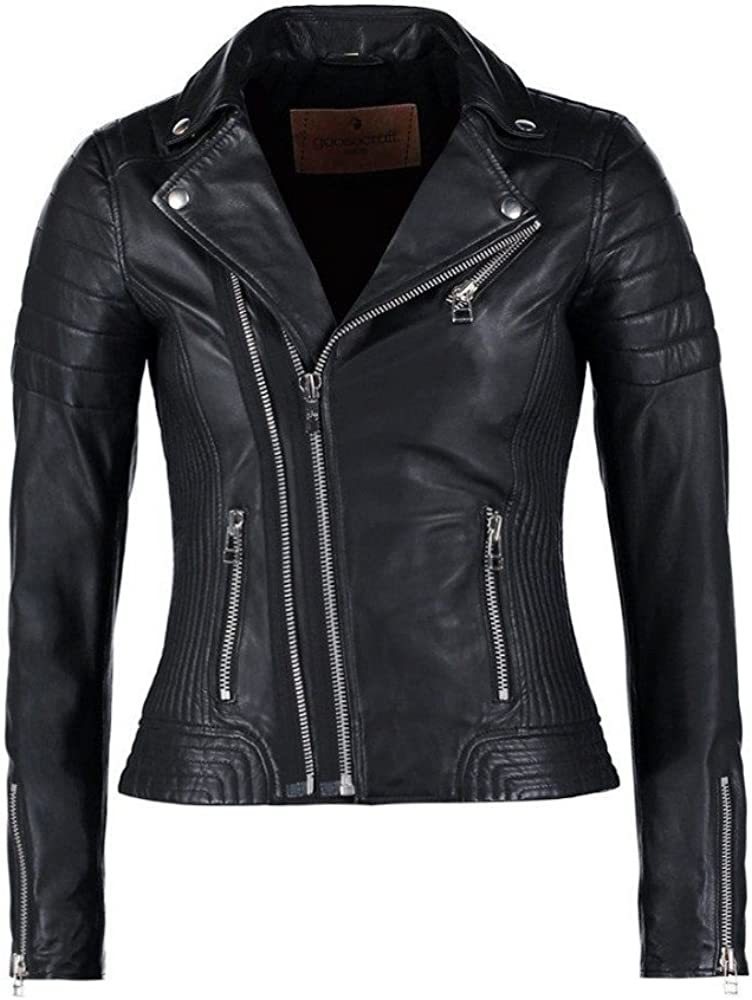Hellojeehouse Womens Leather Jacket Black Slim fit Biker Genuine Lambskin Jacket