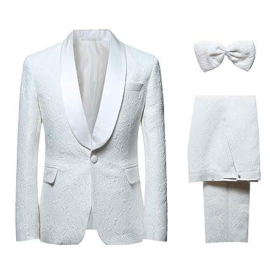 Et Jacquard Veste Papillon Élégant Fit Costume Rvers Châle Deux Homme Pièces Nœud Pantalon Youthup Slim Blanc gfqSxO