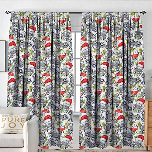Blackout Curtains Cars,Christmas Themed Hand Drawn Cars with Santa Hats and Presents on Winter Holiday,Lime Green Grey,Rod Pocket Drapes Thermal Insulated Panels Home décor -