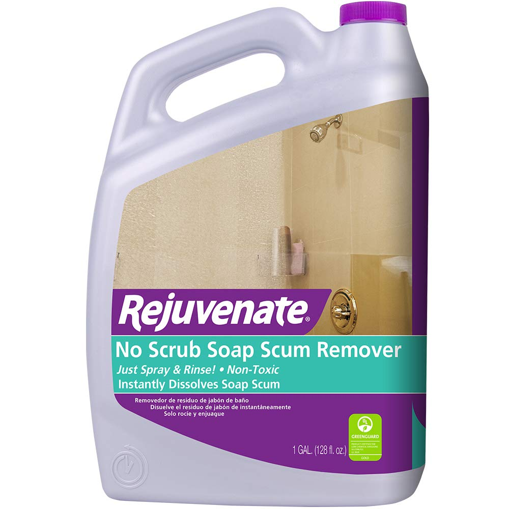 Rejuvenate Scrub Free Soap Scum Remover Non-Toxic Non-Abrasive Cleaning Formula - Spray and Rinse for Streak Free Finish on Glass, Ceramic Tile, Chrome, Plastic and More by Rejuvenate