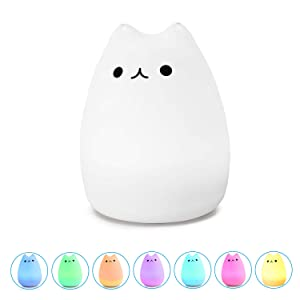 WoneNice Portable Cute Kitty Silicone LED Night Lamp,USB Rechargeable Children Night Light with Warm White & 7-Color Breathing Modes, Touch Sensor Control, for Baby, Kids, Adults